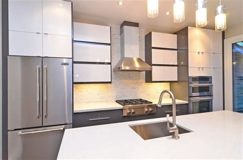 ikea handleless abstrakt grey  white kitchen