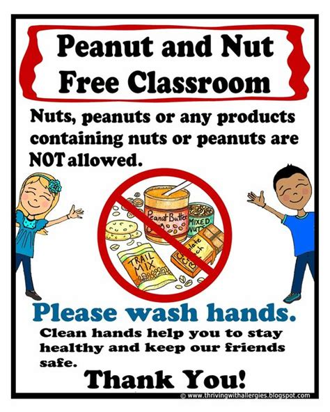 Peanut And Nut Free Classroom Poster Free Printable Poster  Food Allergies In School