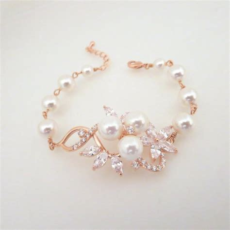 rose gold bracelet crystal wedding bracelet pearl bridal