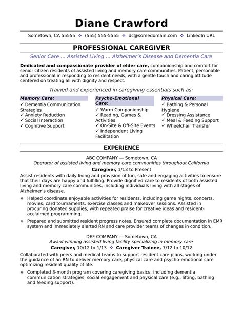 Resume For Caregiver caregiver resume sle