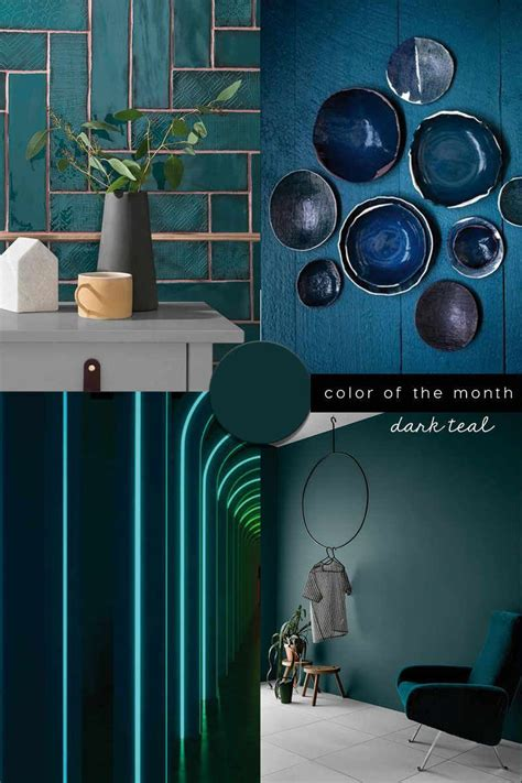 INTERIOR COLOR TREND 2020 Dark Teal in design Colorful