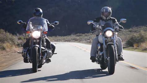 Motorcycle Club Cruise Down Desert Highway Road In
