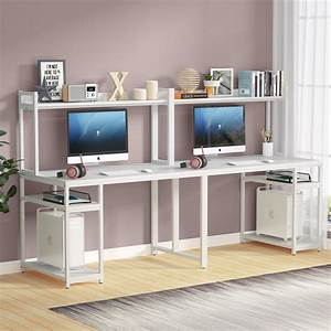 Extra, Long, Double, 2, Person, Desk, With, Hutch, And, Storage, Shelves, 95, Inches, Dual, Writing, Home