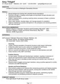 c counselor resume objective exles resume exle for a guidance counselor susan ireland resumes