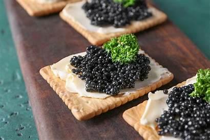 Caviar Russian Closeup Delicious Cookies Wooden Board