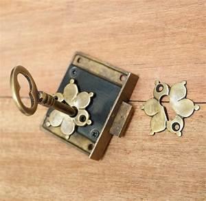 SET Vintage Solid BRASS KEY-LOCK and SKELETON Key with ...