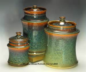 brown canister sets kitchen ceramic glaze promethean pottery