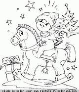 Horse Coloring Rocking Boy sketch template