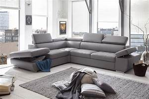canape d39angle convertible gris clair univers canape With canape d angle gris en cuir
