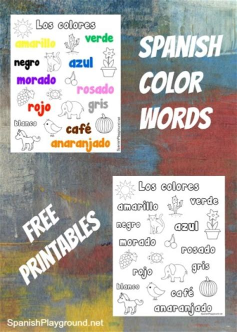 spanish color words printable coloring pages spanish playground