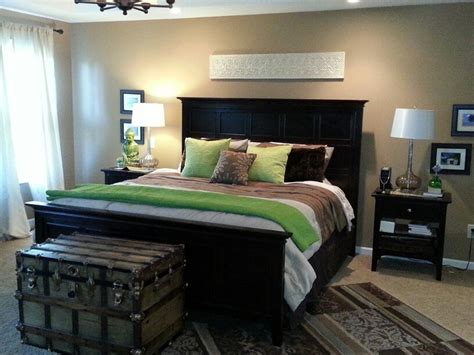 i added green pillows and throw from home goods brown