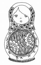 Coloring Russian Dolls Adults Colouring Adult Printable Doll Sheets Russia Faces Russe Coloriage Matryoshka Colour Poupée Russes Coloriages Zentangle Stress sketch template