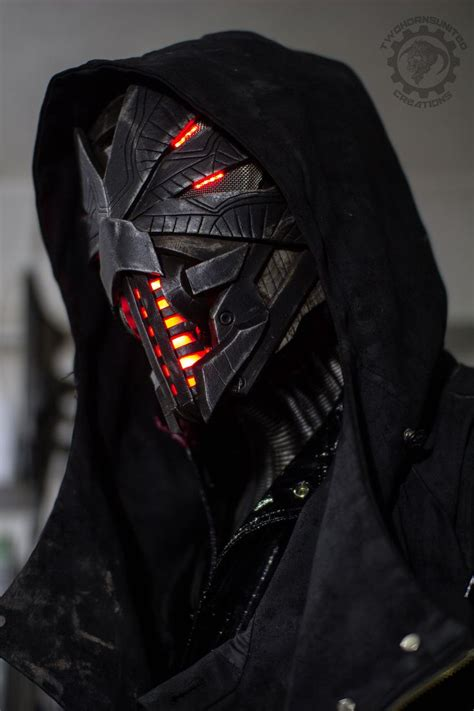 Erebus - Cyberpunk dystopian light up helmet by