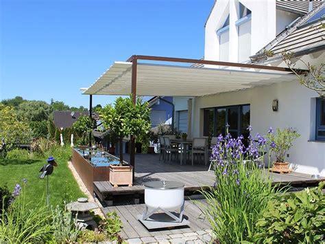 Garten Terrasse by Gartenterrasse Mit Sonnensegel Wasserbecken Velusol