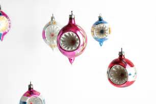 vintage glass christmas ornaments silver pink by oldvintagegoodies