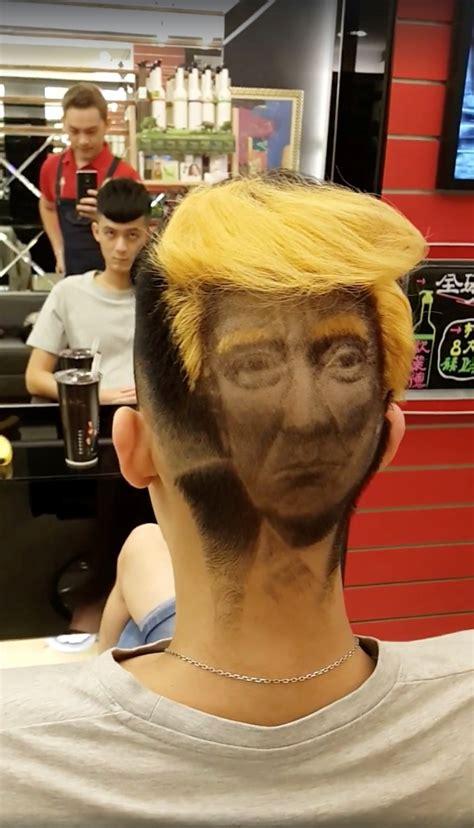 trump hair donald taiwan rambut cabelo gaya sucesso inspirado cabeleireiro faz corte head hairdresser portrait barbershop kreasi berwajah unik changhua