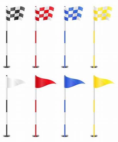 Golf Vector Flags Illustration Flag Background Ball