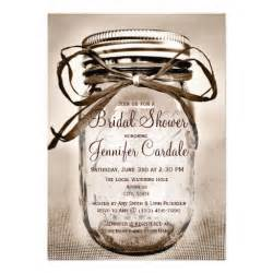 rustic wedding shower invitations country jar rustic bridal shower invitations 4 5 quot x 6 25 quot invitation card zazzle