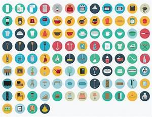 2500 Flat Icons Vector Set Royalty Free