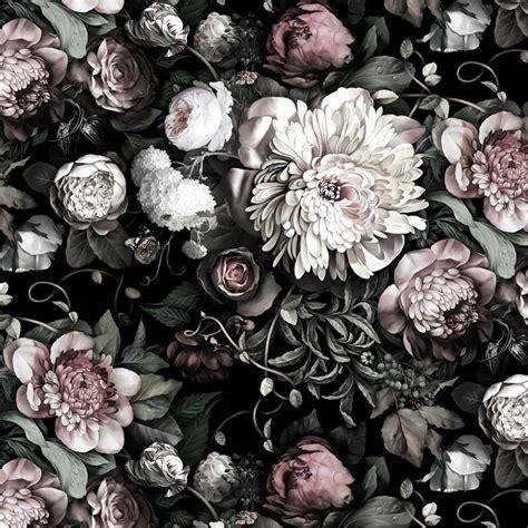 dark floral ii black desaturated vinyl wallcovering