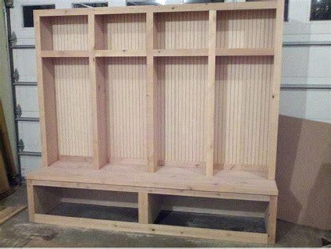 original wooden diy mudroom lockers unfinshef basement