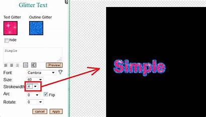 Editor Text Outline Glitter Generator Outlined Simple