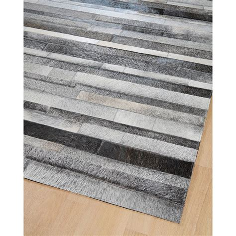 tapis en patchwork de cuir gris jacob home spirit 200x300