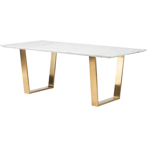 nuevo hgsx catrine dining table  white marble top
