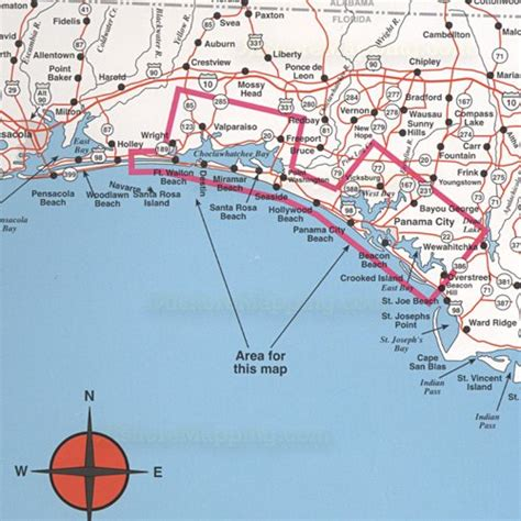 top spot fishing map  destin  panama city