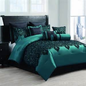 10 piece satin teal black flocked comforter set queen size ebay