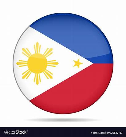 Flag Philippines Round Vector Button Shiny Royalty