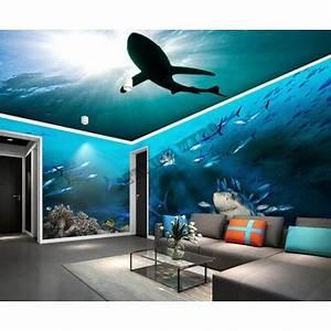 Poster Mural 3d : papier peint photo personnalis xxl panoramique tapisserie paysage fond marin les requins ~ Teatrodelosmanantiales.com Idées de Décoration