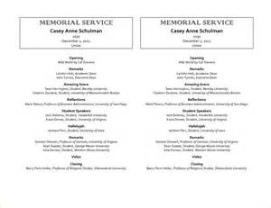 memorial programs templates 12 sle memorial service programagenda template sle