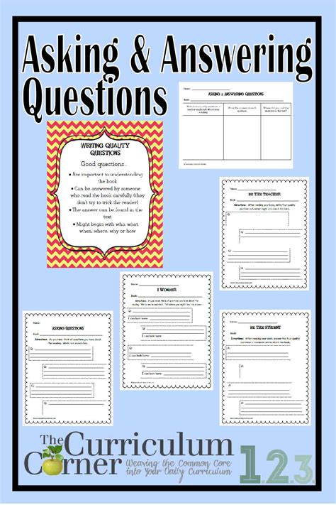 Ask & Answer Questions In Informational Text  The Curriculum Corner 123