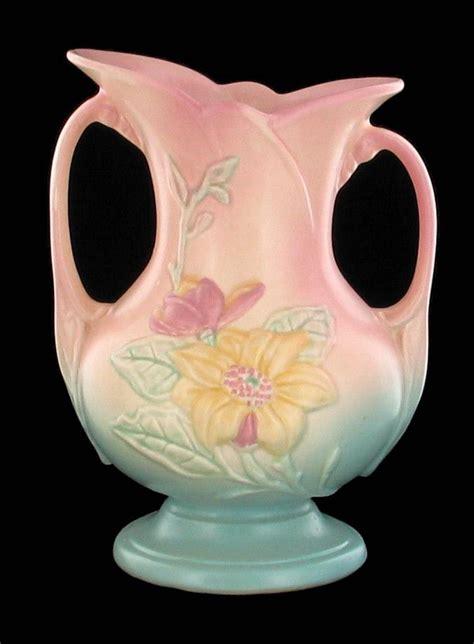 Vintage Deco Vases - vintage 1940 s hull marigold pink blue glazed deco