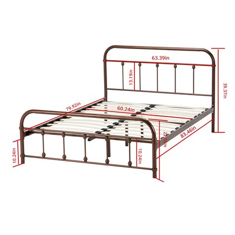 queen size metal bed frame platform slat furniture