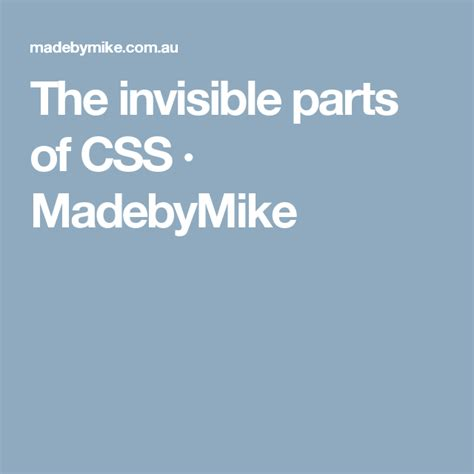 invisible parts  css madebymike  images