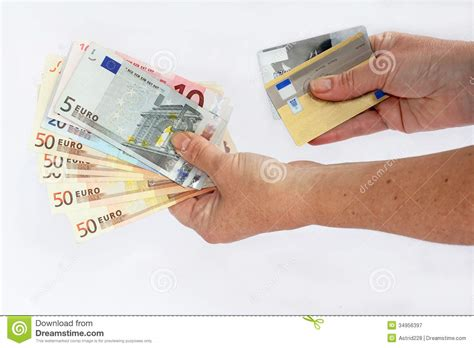 Pay credit card with cash. Cash or credit card stock image. Image of euroseems, funds ...
