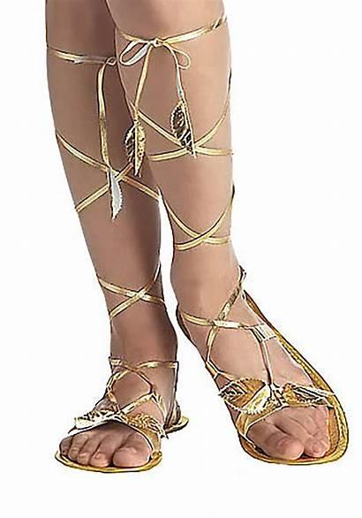 Goddess Sandals Greek Adult Gold Costume Roman