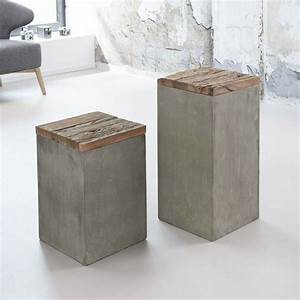 Möbel Aus Beton : blumens ule aus recyclingholz beton 2 teilig jetzt ~ Michelbontemps.com Haus und Dekorationen