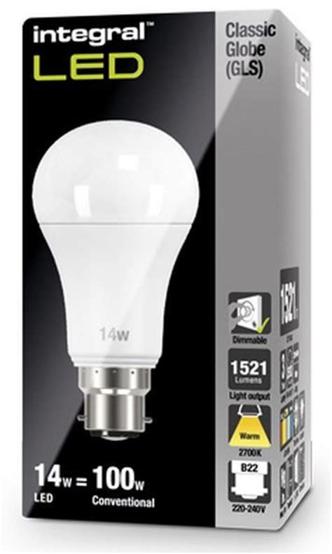 dimmable 100w equivalent led bulb 14w bayonet b22 integral
