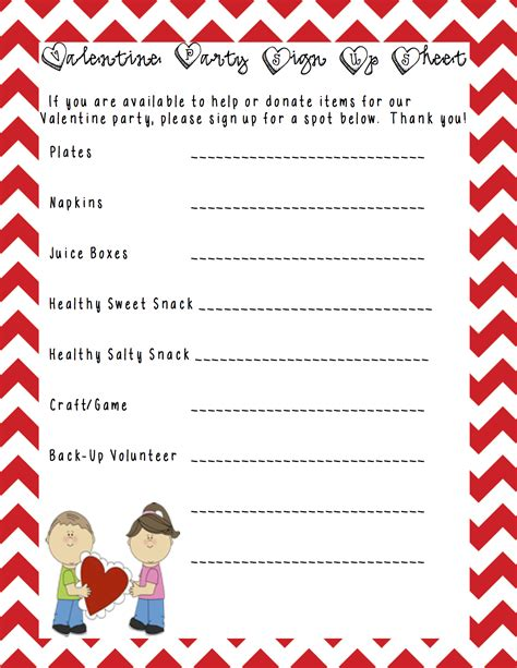 Class Party Sign Up Sheet Template