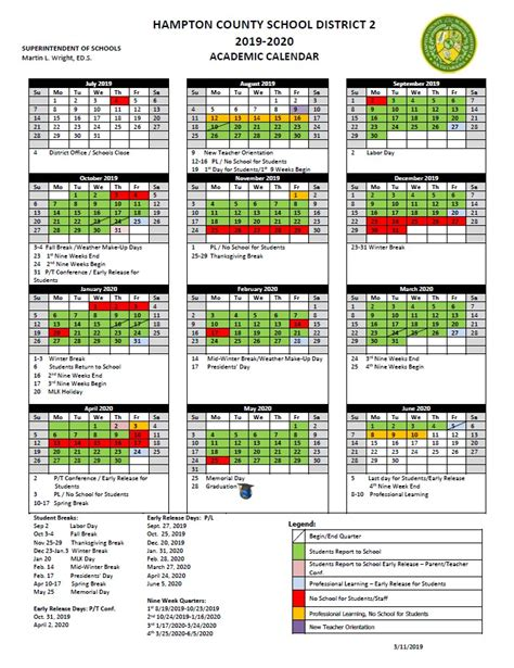 approved academic calendar hampton county school district
