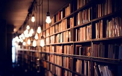 Library Books Shelves Lighting Widescreen