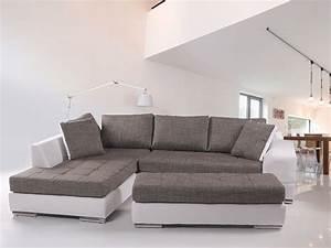 Couch Weiß Grau : husam sofa kunstleder weiss webstoff grau ottomane links ~ Watch28wear.com Haus und Dekorationen