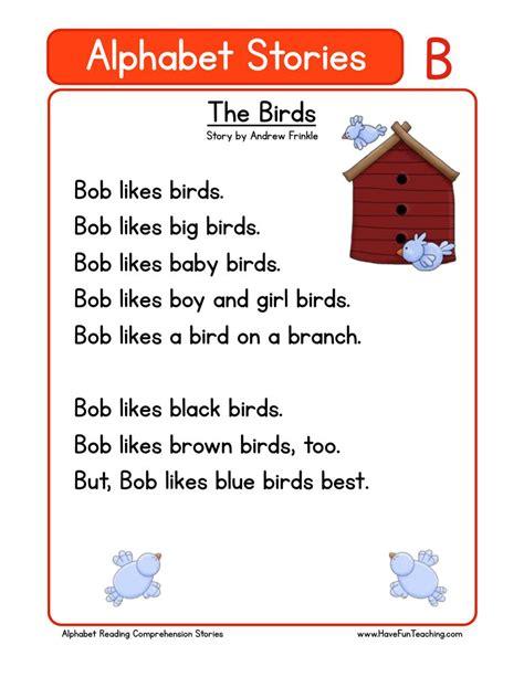 kindergarten reading comprehension worksheets 244 | alphabet stories comprehension b