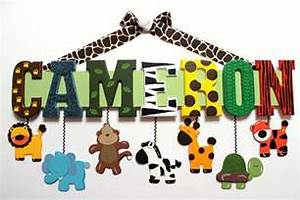 zoo animal name sign 7 letters custom hand painted With wooden jungle animal alphabet letters