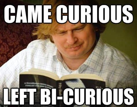 Curious Meme - a curious male reads fifty shades of grey