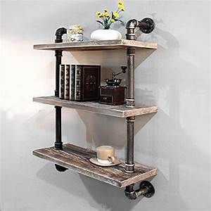 Industrial, Pipe, Bookcase, Wall, Shelf, Rustic, Wood, Floating, Wood, Shelves, Shelving