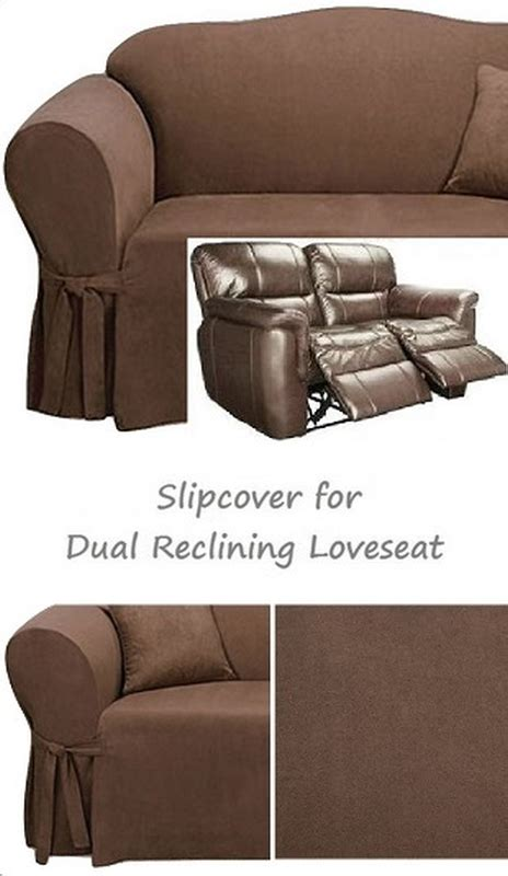 Dual Reclining Loveseat Slipcover by Dual Reclining Loveseat Slipcover Suede Chocolate Sure Fit